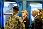 United States Army Colonel Kurt Taylor, center, briefs U.S. Secretary of State Hillary Rodham Clinton and U.S. Secretary of Defense Robert Gates at the truce village of Panmunjom in the demilitarized zone (DMZ) that separates the two Koreas since the Korean War, north of Seoul, South Korea, Wednesday, July 21, 2010. .Mandatory Credit: Cherie Cullen - DoD via CNP