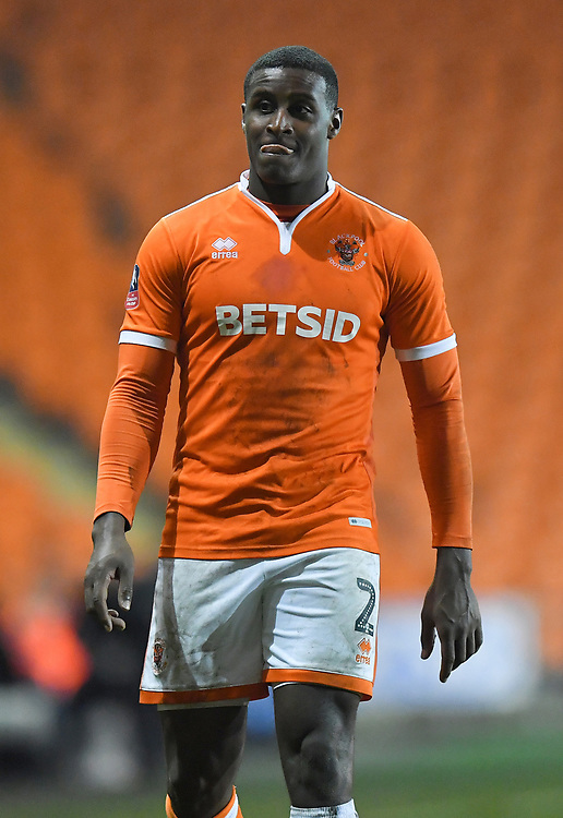 Blackpool's Donervon Daniels<br /> <br /> Photographer Dave Howarth/CameraSport<br /> <br /> The Emirates FA Cup Second Round Replay - Blackpool v Solihull Moors - Tuesday 18th December 2018 - Bloomfield Road - Blackpool<br />  <br /> World Copyright © 2018 CameraSport. All rights reserved. 43 Linden Ave. Countesthorpe. Leicester. England. LE8 5PG - Tel: +44 (0) 116 277 4147 - admin@camerasport.com - www.camerasport.com