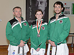 Cydney Sheridan silver medal winner with her instructor Karl Doyle and club instructor of Ireland Phil Smith. Photo:Colin Bell/pressphotos.ie
