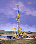 A portable drilling rig in the Texas summer.