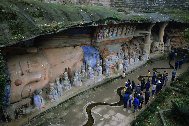 CHINA, DAZU, SICHUAN PROVINCE, VALLEY OF THE BUDDHAS, GIANT SLEEPING BUDDHA