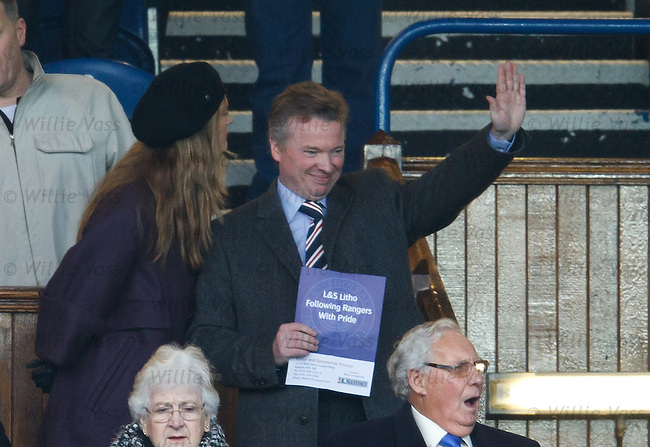 Craig Whyte gives a wave from the directors box