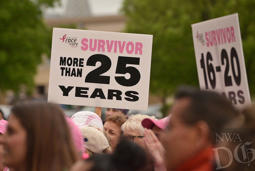 NWA Democrat-Gazette/BEN GOFF @NWABENGOFF<br /> Cancer survivors walk in the survivor parade Saturday, April 22, 2017, during the annual Susan G. Komen Ozark Race for the Cure at Pinnacle Hills Promenade in Rogers.