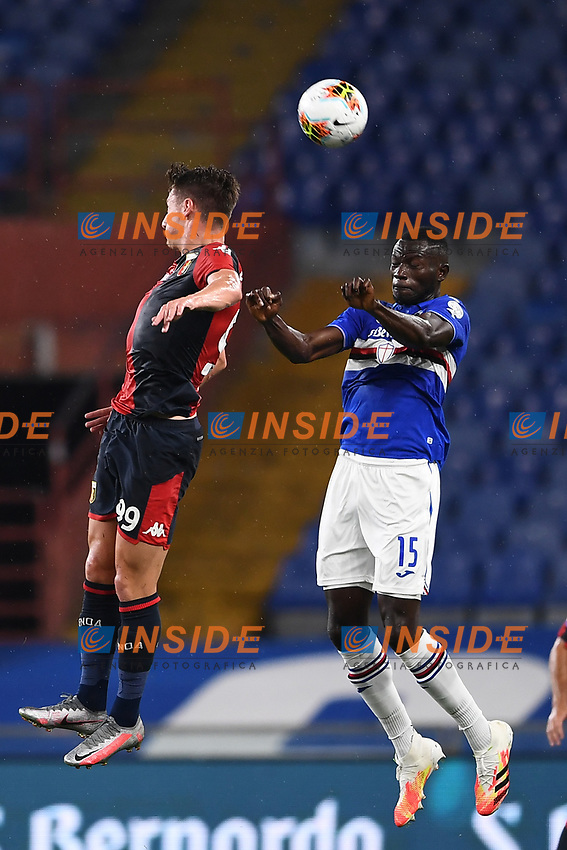 Andrea Pinamonti of Genoa and Omar Colley of Sampdoria during the Serie A football match between UC Sampdoria and Genoa CFC at stadio Marassi in Genova (Italy), July 22th, 2020. Play resumes behind closed doors following the outbreak of the coronavirus disease. <br /> Photo Matteo Gribaudi / Image Sport / Insidefoto