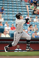 Omaha Storm Chasers outfielder Brian Fletcher (6) at bat during the first game of a double header against the Nashville Sounds on May 21, 2014 at Herschel Greer Stadium in Nashville, Tennessee.  Nashville defeated Omaha 5-4.  (Mike Janes/Four Seam Images)