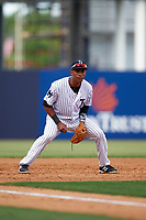 Tampa Yankees third baseman Abiatal Avelino (22) during the first game of a doubleheader against the Bradenton Marauders on April 13, 2017 at George M. Steinbrenner Field in Tampa, Florida.  Bradenton defeated Tampa 4-1.  (Mike Janes/Four Seam Images)