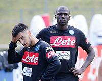 Kalidou Koulibaly  Omar Ounas  durante il  ritiro precampionato del SSC Napoli a Dimaro<br />  05 Luglio  2017