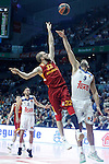 Real Madrid's Felipe Reyes (r) and Galatasaray Odeabank Istambul's Sinan Guler during Euroleague, Regular Season, Round 5 match. November 3, 2016. (ALTERPHOTOS/Acero)