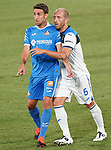Getafe CF's Jaime Mata (l) and Atalanta BC's Andrea Masiello during friendly match. August 10,2019. (ALTERPHOTOS/Acero)