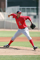 Ryan Chaffee #25 of the Los Angeles Angels plays in a minor league spring training game against the Arizona Diamodnbacks at the Angels minor league complex on March 17, 2011  in Tempe, Arizona. .Photo by:  Bill Mitchell/Four Seam Images.