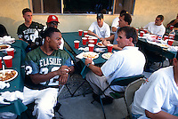 CONCORD, CA - De La Salle High School football coach Bob Ladouceur talks to his team at a dinner in Concord, CA in 1997. Photo by Brad Mangin