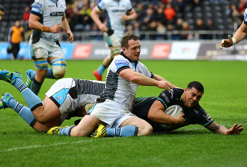 Ospreys' Josh Matavesi scores his sides second try.<br /> <br /> Photographer /Dan MintoCameraSport<br /> <br /> Guinness PRO12 Round 16  - Ospreys v Glasgow Warriors - Sunday 26th February 2017 - Liberty Stadium - Swansea<br /> <br /> World Copyright &copy; 2017 CameraSport. All rights reserved. 43 Linden Ave. Countesthorpe. Leicester. England. LE8 5PG - Tel: +44 (0) 116 277 4147 - admin@camerasport.com - www.camerasport.com