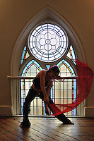 Gregory Holmgren Photography, dance, movement project, acrobatic model, Miranda Tempest at Berkeley Church, Toronto, ON, December 10, 2012.