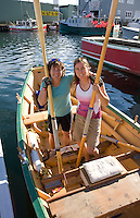 two women friends Dory rowing, Gloucester, Cape Ann, MA