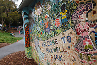 Welcome to Maxwell Park mural on the park bathroom was created by neighborhood activists.