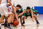 WOODBURY, CT. 08 January 2020-010820BS553 - Wilby's Jonathan Matias (23), right, and Nonnewaug's Jon Khazzaka (13) center, battle for a loose ball in the paint, during a Boys Basketball game betweem Wilby and Nonnewaug at Nonnewaug High School in Woodbury on Wednesday. Bill Shettle Republican-American