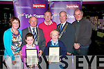 Listowel Enviromental Caring Award: Clodagh O'Sullivan & Maeve Gallagher receiving their award for caring for the environment from the Mayor of Kerry, Councilor Pat Leahy at the Three Mermaids Bar in Listowel on Thursday night last...Front: Clodagh O'Sullivan & Maeve Gallagher...BackMargaret O'Sullivan, Mayor Leahy, Liam Gallagher, Mayor Curtin & Fr. Declan O'Connor PP,  Listowel..