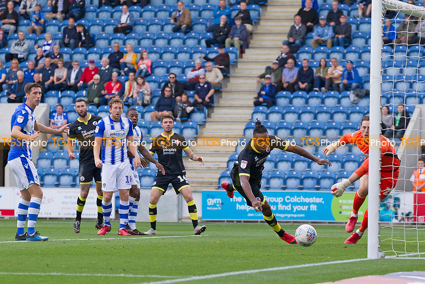 Dominic Poleon of Crawley Town narrowly fails to hit the target during Colchester United vs Crawley Town, Sky Bet EFL League 2 Football at the JobServe Community Stadium on 13th October 2018