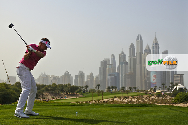 Ian Poulter (ENG) on the 8th during Round 2 of the Omega Dubai Desert Classic, Emirates Golf Club, Dubai,  United Arab Emirates. 25/01/2019<br /> Picture: Golffile | Thos Caffrey<br /> <br /> <br /> All photo usage must carry mandatory copyright credit (&copy; Golffile | Thos Caffrey)