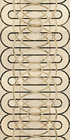 Cooper, a stone water jet mosaic, shown in Ivory Cream, Emperador Dark, and Breccia Oniciata, is part of the Ann Sacks Beau Monde collection sold exclusively at www.annsacks.com