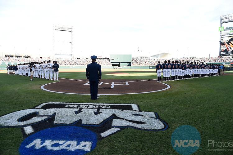 23 JUNE 2014:  The University of Virginia takes on Vanderbilt University during the Division I Men's Baseball Championship held at TD Ameritrade Park in Omaha, NE.  Jamie Schwaberow/NCAA Photos