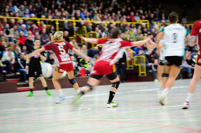 BENSHEIM, DEUTSCHLAND - JANUAR 18: 17. Spieltag in der Handball Bundesliga Frauen (HBF) zwischen der HSG Bensheim/Auerbach (rot) und dem VfL Oldenburg (gruen/weiss) am 18. Januar 2014 in der Weststadthalle Bensheim, Deutschland. Endstand 22-32. (12-18) (Photo by Dirk Markgraf / www.265-images.com) *** Local caption ***