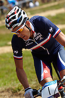 Julien Absalon , France . London Prepares Mountain Bike Olympic Test Event , Hadleigh Farm , Essex , July 2011 pic copyright Steve Behr / Stockfile