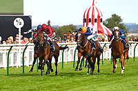 Winner of The Tattersalls Sovereign Stakes Kick On (red) ridden by Oisin Murphy and trained by John Gosden  during Horse Racing at Salisbury Racecourse on 15th August 2019