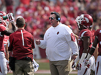 NWA Democrat-Gazette/BEN GOFF @NWABENGOFF<br /> Bret Bielema, Arkansas head coach, talks this team during a timeout Saturday Sept. 5, 2015 during the second quarter of the game in Razorback Stadium in Fayetteville.