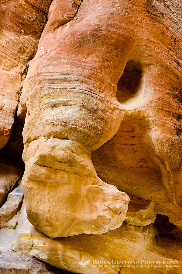 Petra is Jordan's most visited tourist attraction. al-Siq, a narrow gorge, is the main entrance to the ancient city. This rock is called the Elephant.