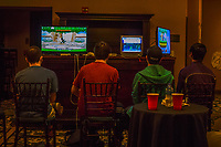 Students play video games like Super Smash Bros in the event's chill out room.