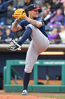 Starting Pitcher Sean Reid-Foley (9) of the New Hampshire Fisher Cats winds up to deliver a pitch during a game against the Hartford Yard Goats at Dunkin Donuts Park on April 8, 2018 in Hartford, Connecticut.<br /> (Gregory Vasil/Four Seam Images)