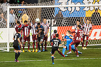 Michael Farfan (21) of the Philadelphia Union scores off a free kick. The Philadelphia Union defeated the CD Chivas USA 3-1 during a Major League Soccer (MLS) match at PPL Park in Chester, PA, on July 12, 2013.