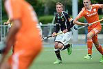 GER - Mannheim, Germany, May 16: During the whitsun tournament boys hockey match between Germany (black) and The Netherlands (orange) on May 16, 2016 at Mannheimer HC in Mannheim, Germany. Final score 4-3 (HT 2-0). (Photo by Dirk Markgraf / www.265-images.com) *** Local caption *** Hannes Mueller #3 of Germany (U16)