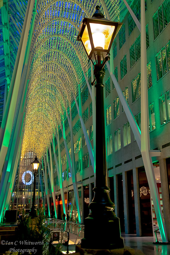 The atrium at Christmas at Brookfield Place in Toronto.