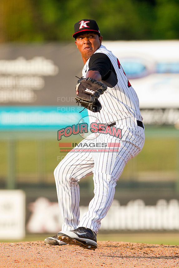 Relief pitcher Orlando Santos #28 of the Kannapolis Intimidators in action against the Delmarva Shorebirds at Fieldcrest Cannon Stadium on May 22, 2011 in Kannapolis, North Carolina.   Photo by Brian Westerholt / Four Seam Images