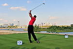 30 August 2009: Tiger Woods tees off on the 18th hole during the final round of The Barclays PGA Playoffs at Liberty National Golf Course in Jersey City, New Jersey.