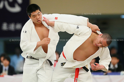(L to R) <br /> Yusei Ogawa (Shutoku), <br /> Hyoga Ota (Hakuoh Ashikaga), <br /> MARCH 21, 2014 - Judo : <br /> The 36th All Japan High School Judo Tournament <br /> Men's Team Final <br /> at Nippon Budokan, Tokyo, Japan. <br /> (Photo by YUTAKA/AFLO SPORT) [1040]