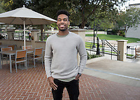 Jay Miller '17, photographed Jan. 24, 2017 outside Hinchliffe Hall and the Academic Quad.<br />