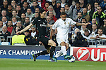 Real Madrid´s Danilo (R) and Paris Saint-Germain´s Edison Cavani during Champions League soccer match between Real Madrid  and Paris Saint Germain at Santiago Bernabeu stadium in Madrid, Spain. November 03, 2015. (ALTERPHOTOS/Victor Blanco)