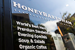 Honey Baked Ham opens its first international store in Tokyo, Japan on August 6, 2015. The Honey Baked Ham Company LLC in collaboration with Toranomon Ham Co., Ltd., opened its first international store in downtown Tokyo. The company with more than 400 locations in the USA is expanding its operations overseas for first time in its 55-year history. (Photo by Rodrigo Reyes Marin/AFLO)