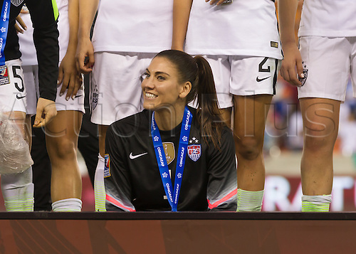 21.02.2016. Houston, TX, USA.  USA Goalkeeper Hope Solo (1) during the Women's Olympic qualifying soccer final match between Canada and USA at BBVA Compass Stadium in Houston, Texas.