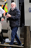 Pictured: Keith Morgan arrives at Cardiff Crown Court where he was sentencing. Monday 15 October 2018<br /> Re: Conman Keith Morgan has been jailed for 8 and a half years at Cardiff Crown Court. He had claimed that he was one of the world's wealthiest men but instead he was living on benefits in rented accommodation in Pontypridd.