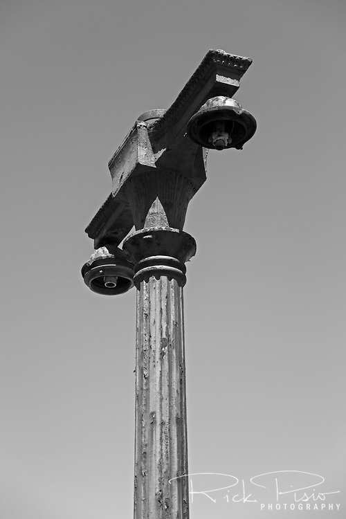 Early 20th Century era street lamp outside Oakland's abandoned 16th St. train station.