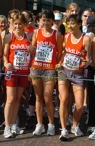 LUCY ALEXANDER & THE CHEEKY GIRLS.Hydro Active Women's 5km Fun Run,.London, 4th September 2005.full length charity race start line red top grey gray shorts.www.capitalpictures.com.sales@capitalpictures.com.©Capital Pictures