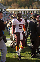 19 November 2005: Marcus Vick (5) leaves the field after defeating Virginia.  The Virginia Tech Hokies defeated the Virginia Cavaliers 52-14 for the Commonwealth Cup at Scott Stadium in Charlottesville, VA.
