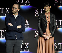 LAS VEGAS, NV - APRIL 24: Actors Sam Claflin, and Shailene Woodley onstage during the STX Films presentation at CinemaCon 2018 at The Colosseum at Caesars Palace on April 24, 2018 in Las Vegas, Nevada. (Photo by Frank Micelotta/PictureGroup)
