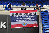 Leicester City fans place a flag in memory of Vichai Srivaddhanaprabha<br /> <br /> Photographer Kevin Barnes/CameraSport<br /> <br /> The Premier League -  Cardiff City v Leicester City - Saturday 3rd November 2018 - Cardiff City Stadium - Cardiff<br /> <br /> World Copyright © 2018 CameraSport. All rights reserved. 43 Linden Ave. Countesthorpe. Leicester. England. LE8 5PG - Tel: +44 (0) 116 277 4147 - admin@camerasport.com - www.camerasport.com