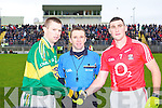 Kerry captain Tomas O Se and Cork captain Noel O'Leary with referee Michael Duffy.