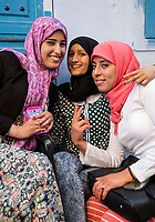 Chefchaouen, Morocco.  Young Arab Women Posing for their Picture.